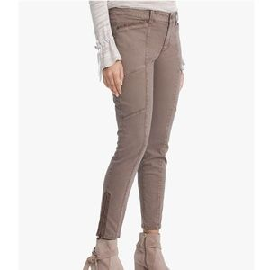 WHBM Embroidered Zipper Hem Skinny Ankle Jeans